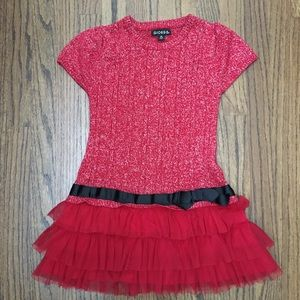 Sweater dress with tulle skirt